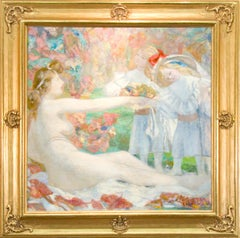 Early 20th Century Post Impressionist Painting, Female nude with Children