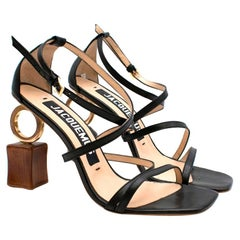 Jacquemus Abstract Heel Strappy Black Sandals 41
