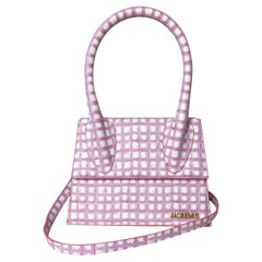 JACQUEMUS Pink Gingham Le Grand Chiquito Tote Bag w/ Optional Crossbody Strap