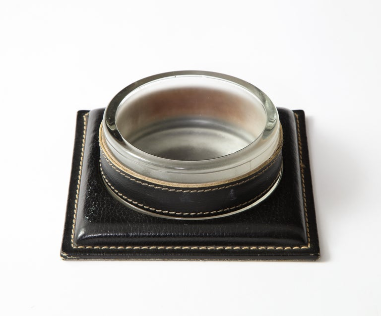 Mid-Century Modern Jacques Adnet 1950s French Black Leather and Crystal Catch-All Vide-Poche For Sale