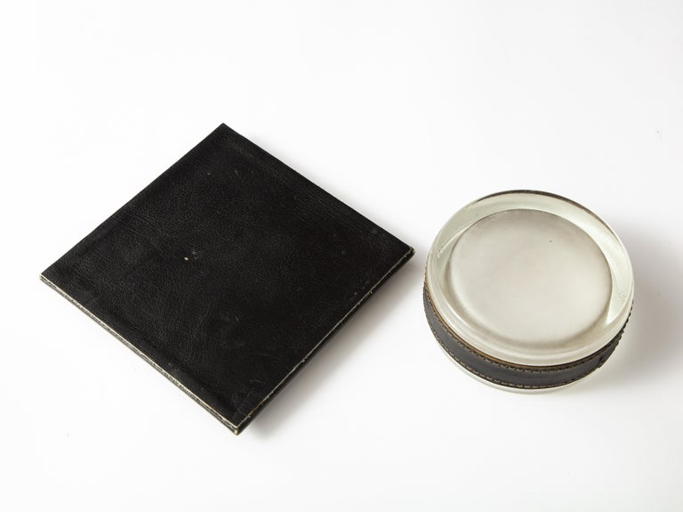 Jacques Adnet 1950s French Black Leather and Crystal Catch-All Vide-Poche In Good Condition For Sale In New York, NY