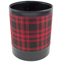 Jacques Adnet 1950s Leather and Plaid Desk Accessory Office Paper WasteBasket