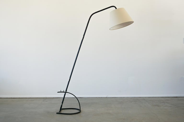 Jacques Adnet Adjustable Floor Lamp In Good Condition For Sale In Los Angeles, CA