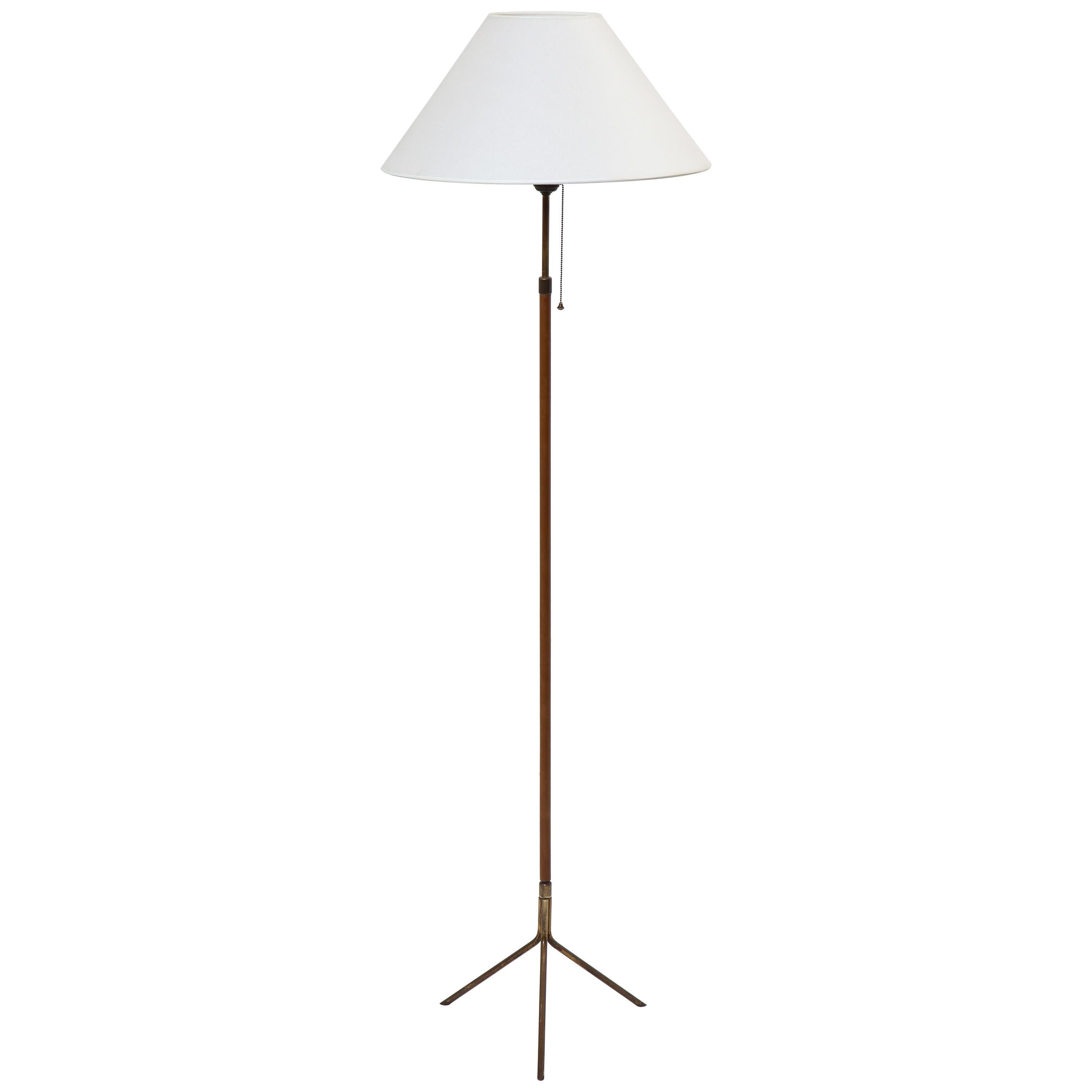 Jacques Adnet Adjustable Leather and Brass Floor Lamp