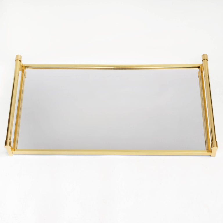 French Very Large Brass Drinks Serving Tray by Jacques Adnet For Sale
