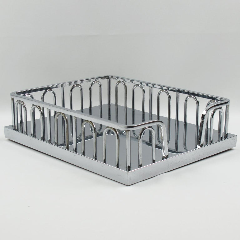 Elegant Art Deco modernist chromed metal heavy desk accessory, office tray by French Designer Jacques Adnet (1900-1984). Minimalist geometric shape, typical Art Deco design. 