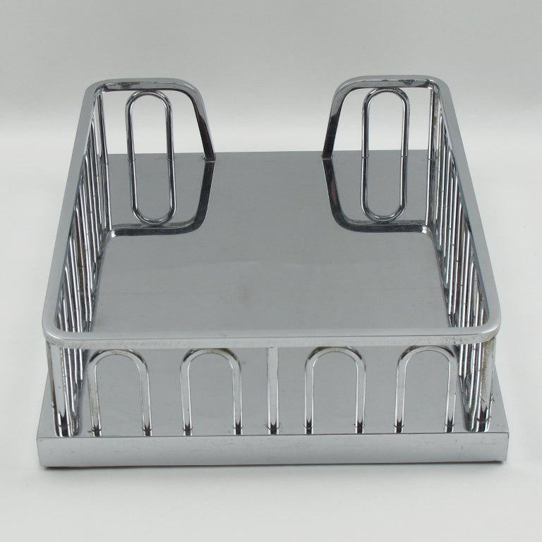 Jacques Adnet Art Deco Chrome Desk Office Tray Letter Holder Organizer In Good Condition For Sale In Atlanta, GA