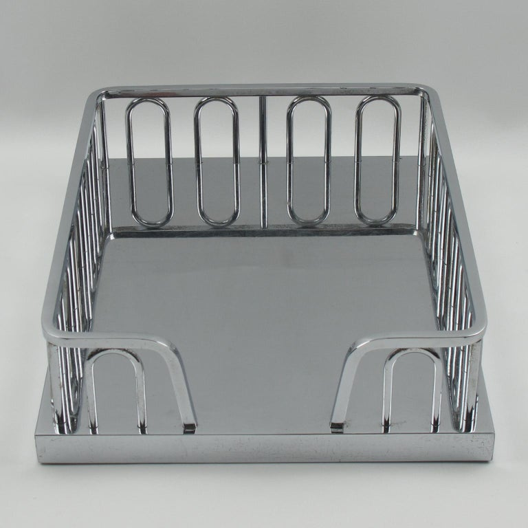 Mid-20th Century Jacques Adnet Art Deco Chrome Desk Office Tray Letter Holder Organizer For Sale