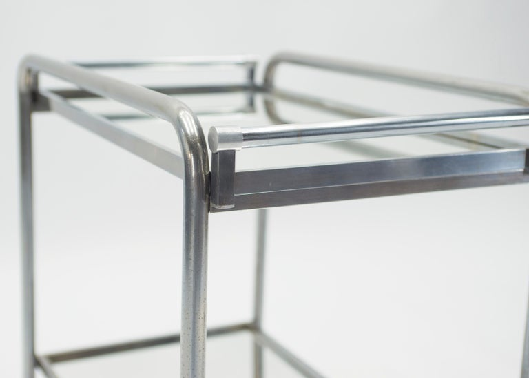Jacques Adnet Art Deco Mirrored Bar Cart Trolley, 1930s For Sale 5