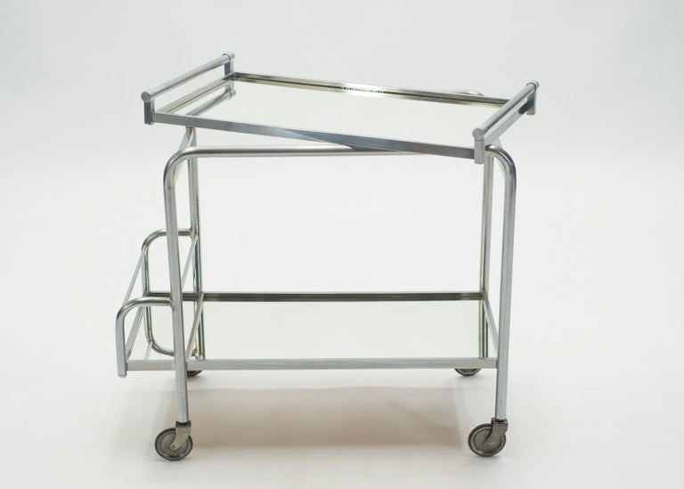 French Jacques Adnet Art Deco Mirrored Bar Cart Trolley, 1930s For Sale