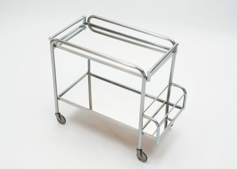 Jacques Adnet Art Deco Mirrored Bar Cart Trolley, 1930s In Good Condition For Sale In Paris, FR