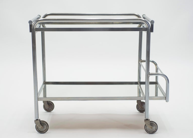 Mid-20th Century Jacques Adnet Art Deco Mirrored Bar Cart Trolley, 1930s For Sale