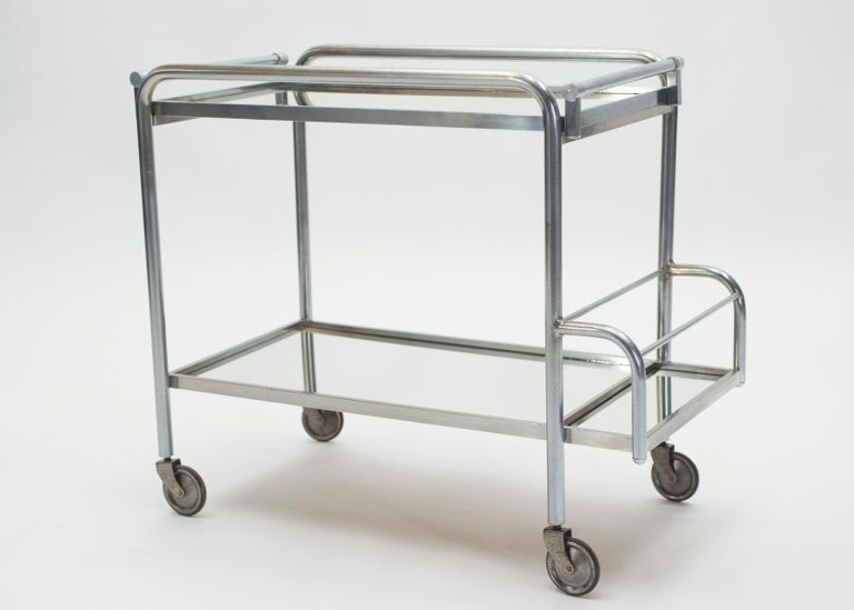Jacques Adnet Art Deco Mirrored Bar Cart Trolley, 1930s For Sale 1