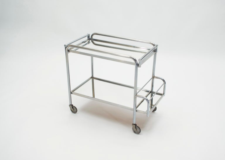 Jacques Adnet Art Deco Mirrored Bar Cart Trolley, 1930s For Sale 2