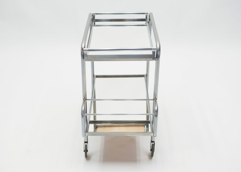 Jacques Adnet Art Deco Mirrored Bar Cart Trolley, 1930s For Sale 3
