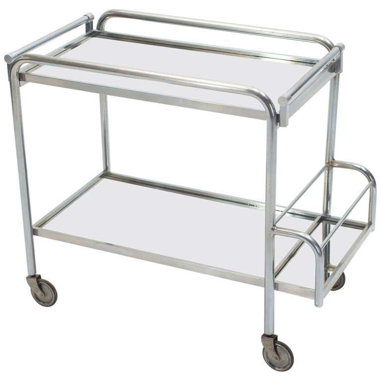 Jacques Adnet Art Deco Mirrored Bar Cart Trolley, 1930s For Sale