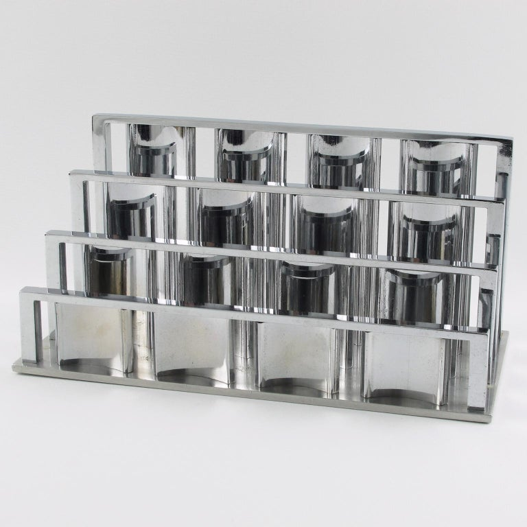 Stunning Art Deco modernist chromed metal desk accessory, letter holder designed by French Jacques Adnet. Elegant Minimalist geometric shape mail rack.  Measurements: 11.43 in. wide (29 cm) x 5.50 in. deep (14 cm) x 5.31 in. high (13.5
