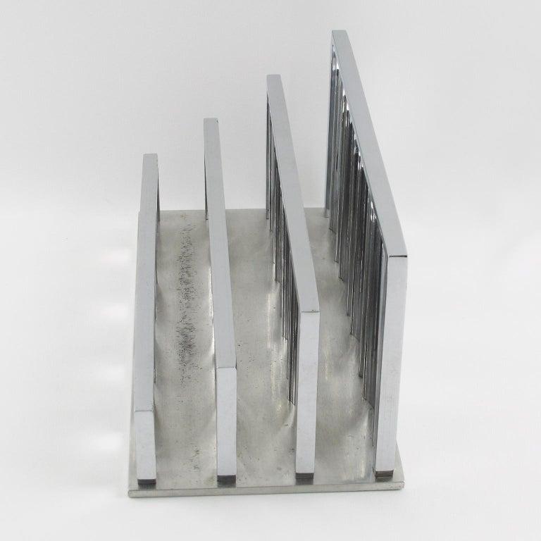 French Jacques Adnet Art Deco Modernist Chrome Desk Accessory Letter Holder For Sale
