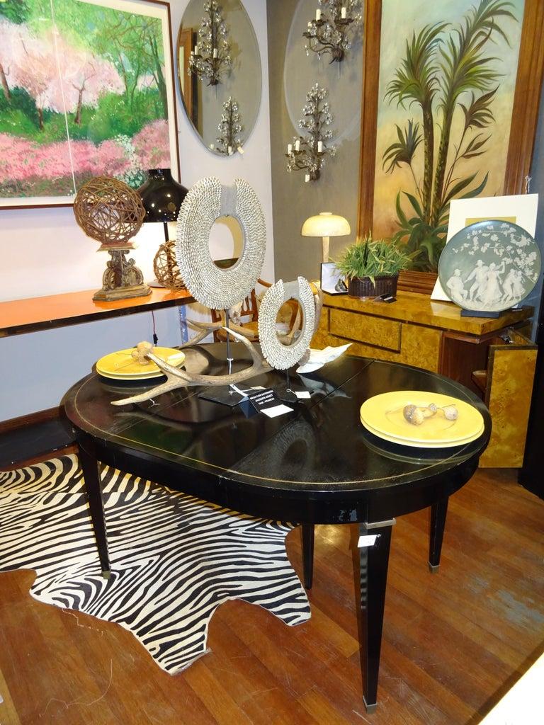 Jacques Adnet Artdeco Black Dinningtable Lacquered Wood Brass Bronze Round 4