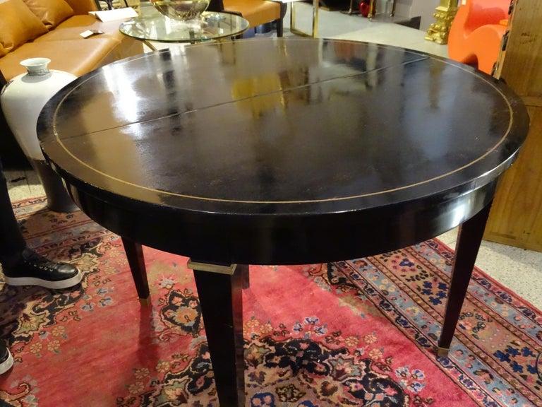Jacques Adnet Artdeco Black Dinningtable Lacquered Wood Brass Bronze Round 6