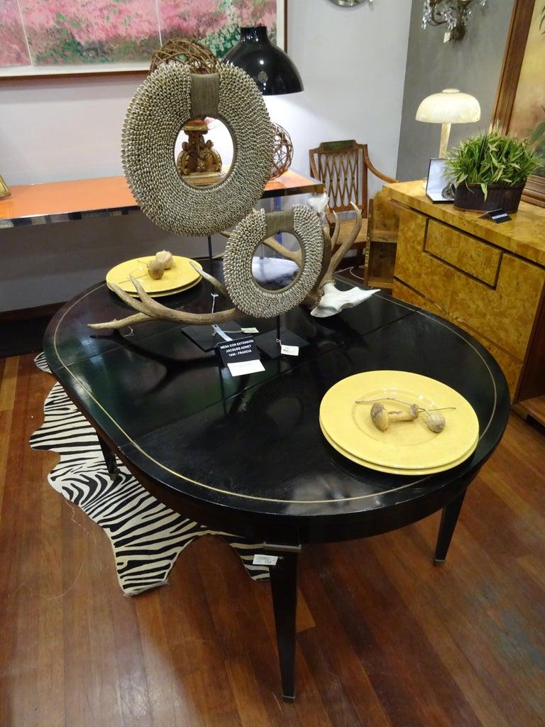 Jacques Adnet Artdeco Black Dinningtable Lacquered Wood Brass Bronze Round 3
