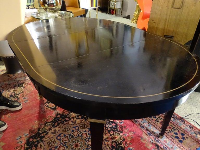 Jacques Adnet Artdeco Black Dinningtable Lacquered Wood Brass Bronze Round 9