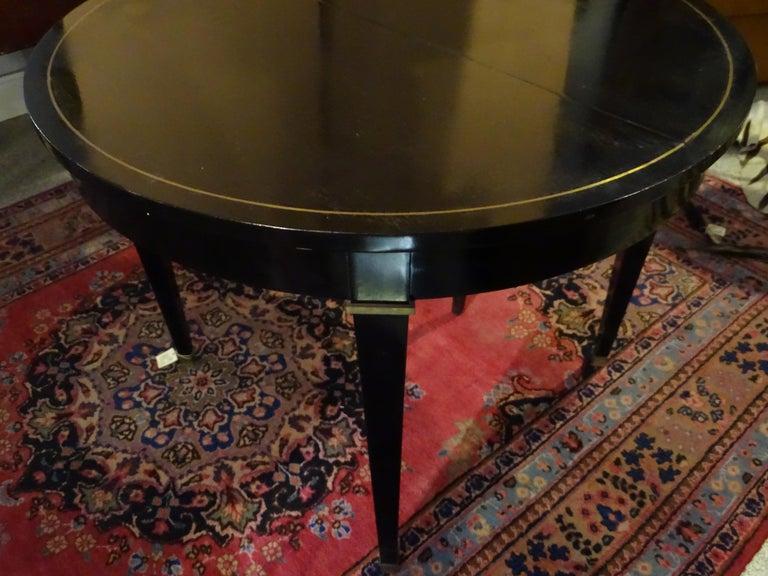 Jacques Adnet Artdeco Black Dinningtable Lacquered Wood Brass Bronze Round 13