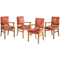 Jacques Adnet, Attributed, Four Armchairs, 1940-1950