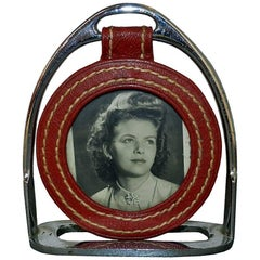 Jacques Adnet Attributed Photo Frame in Chrome Metal and Red Leather