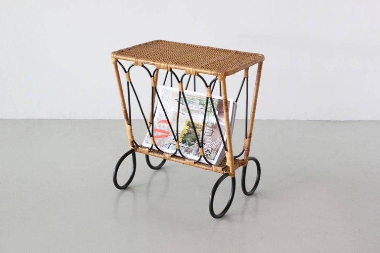 Rattan Jacques Adnet Attributed Side Table For Sale