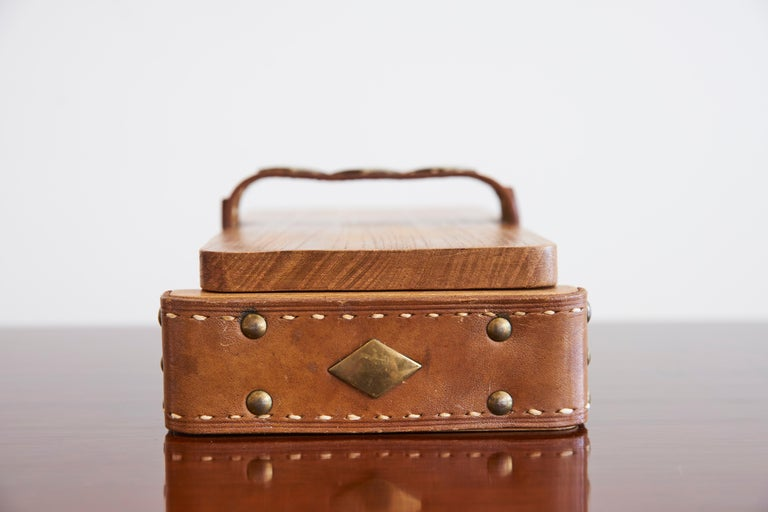 Jacques Adnet Attributed Wood and Leather Box 8