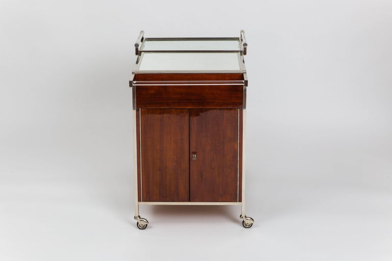 French Jacques Adnet Art Deco Palisander Bar Cart For Sale