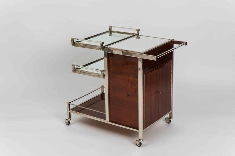 Lacquered Jacques Adnet Art Deco Palisander Bar Cart For Sale
