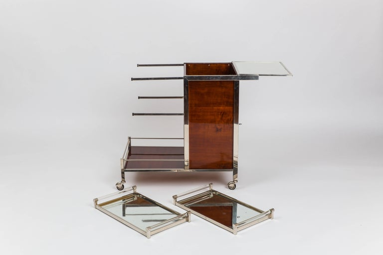 Chrome Jacques Adnet Art Deco Palisander Bar Cart For Sale
