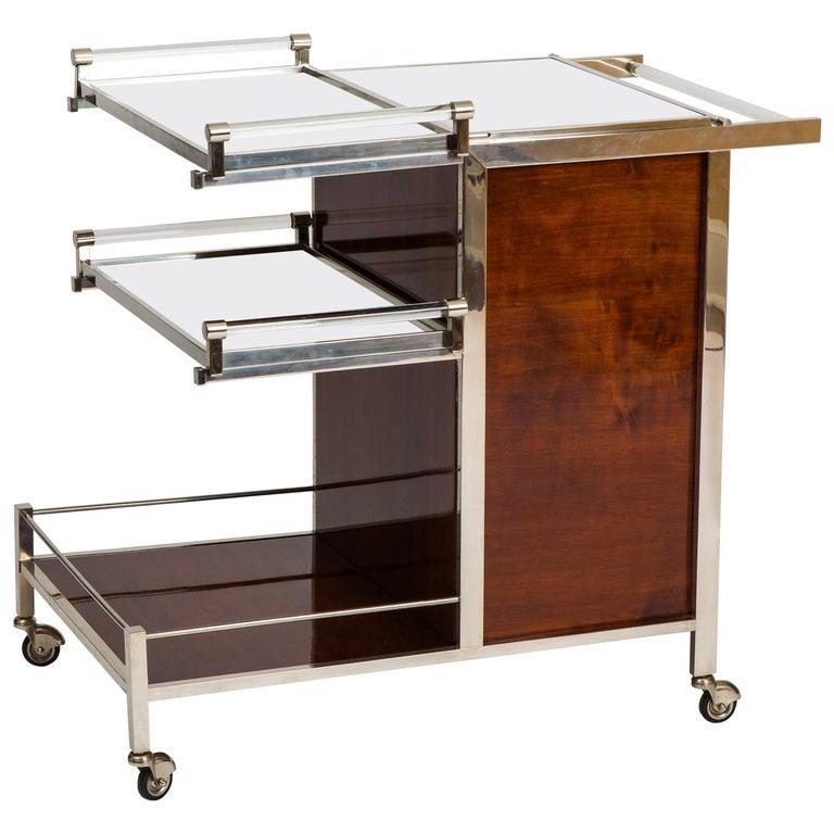 Jacques Adnet Art Deco Palisander Bar Cart For Sale