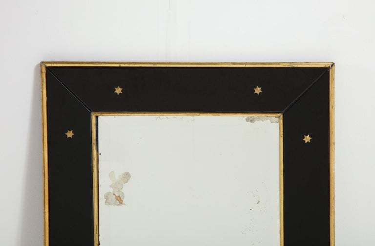 Jacques Adnet Black Glass and Gold Leaf Wall Mirror with Star Detail, circa 1940 For Sale 4