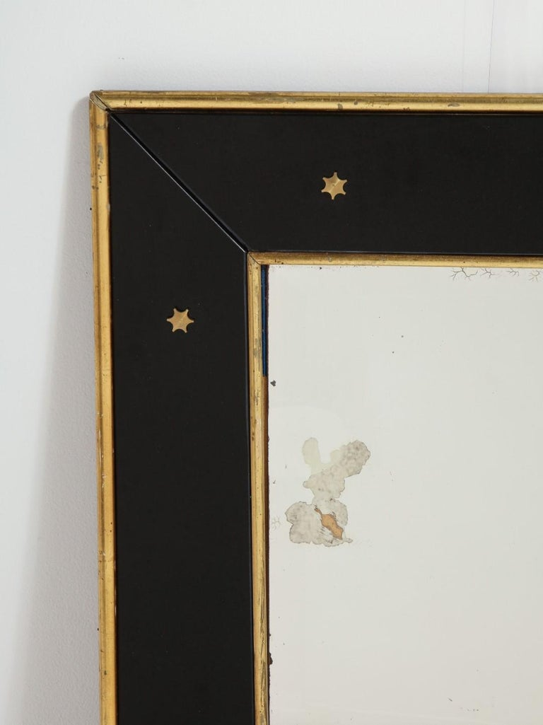 Jacques Adnet Black Glass and Gold Leaf Wall Mirror with Star Detail, circa 1940 For Sale 5