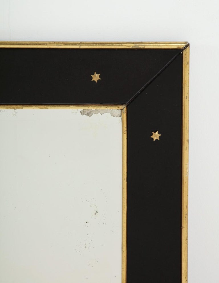 Jacques Adnet Black Glass and Gold Leaf Wall Mirror with Star Detail, circa 1940 For Sale 6