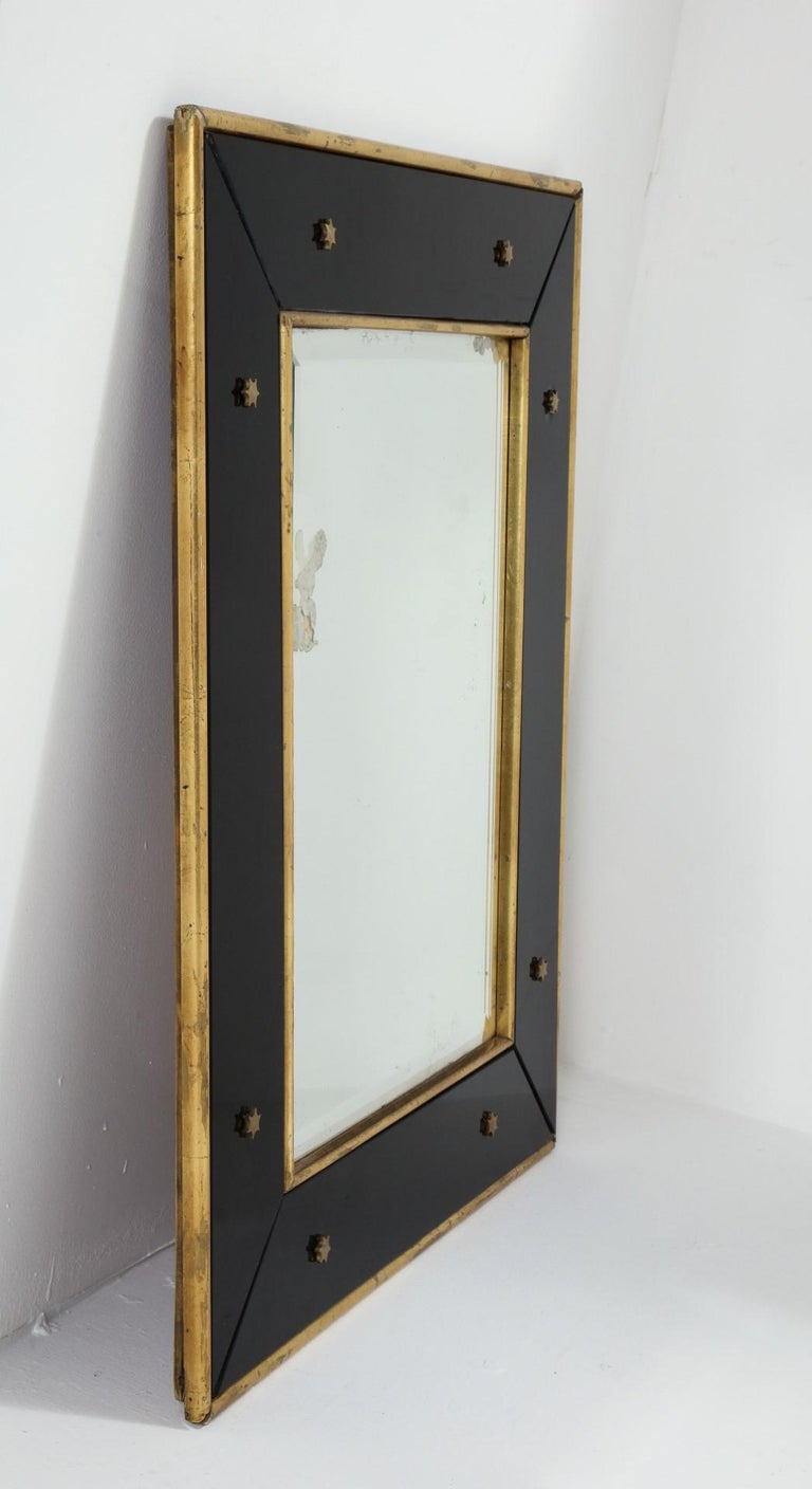 Jacques Adnet Black Glass and Gold Leaf Wall Mirror with Star Detail, circa 1940 For Sale 2