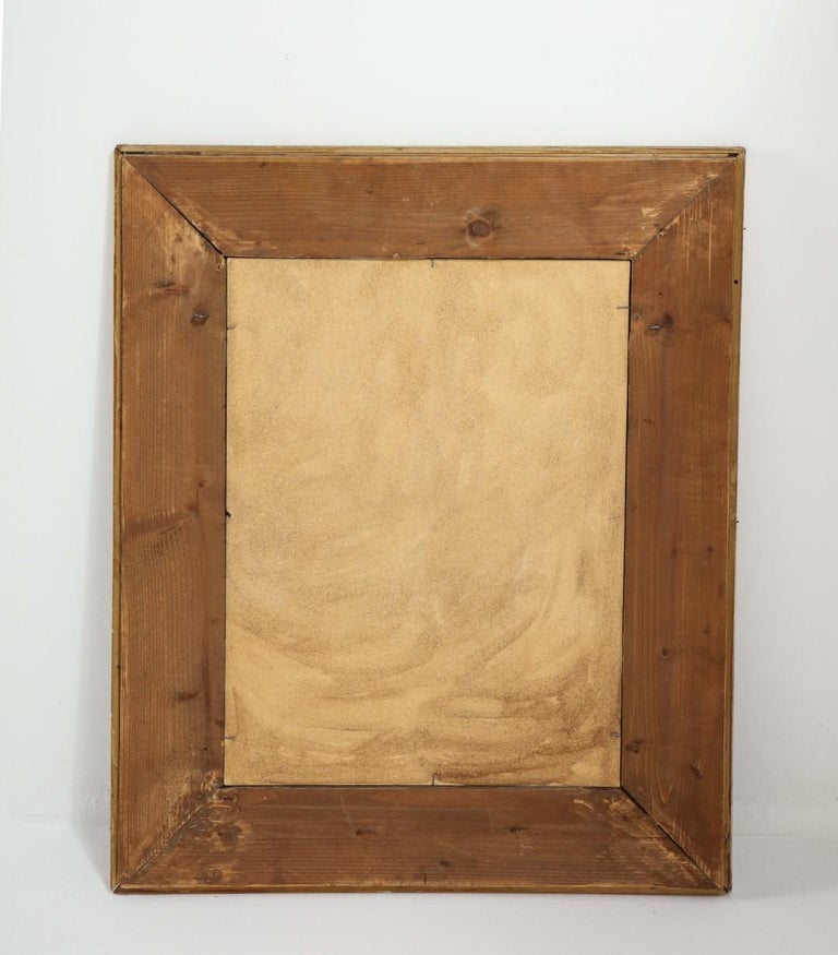 Jacques Adnet Black Glass and Gold Leaf Wall Mirror with Star Detail, circa 1940 For Sale 3