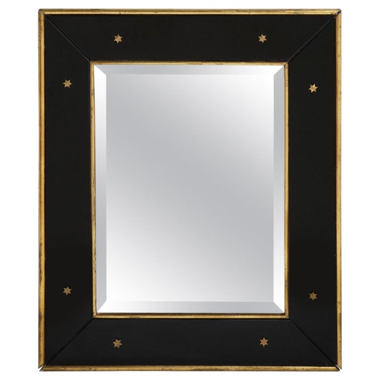 Jacques Adnet Black Glass and Gold Leaf Wall Mirror with Star Detail, circa 1940 For Sale