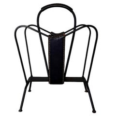 Jacques Adnet Black Leather and Iron Magazine Rack