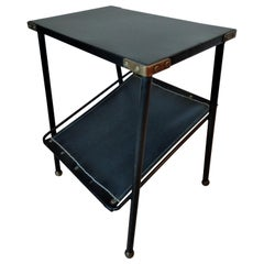 Jacques Adnet Black Leather and Metal Side Table, Magazine Rack, French, 1950s