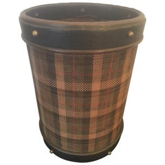 Jacques Adnet Black Leather and Tartan Fabric Waste Paper Basket, French, 1950s