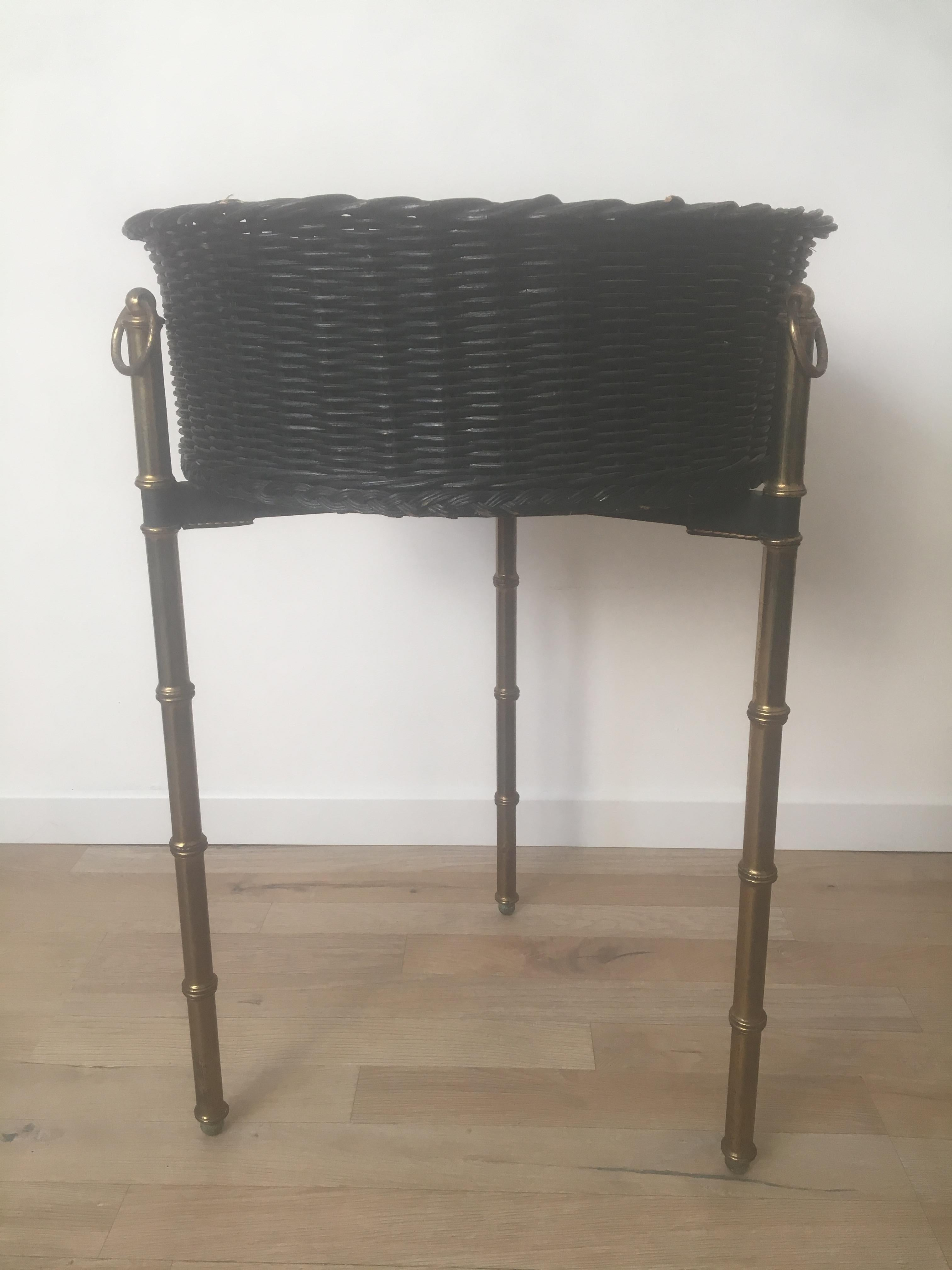 Jacques Adnet Black Rattan Indoor Planter Bamboo Gilt Metal Legs French 1950s