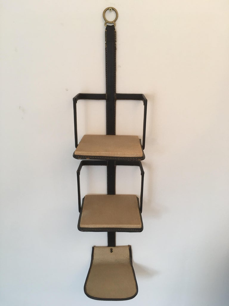 Mid-Century Modern Jacques Adnet Black Stitched Leather Wall Bookcase, 3 Shelves, French, 1950s For Sale