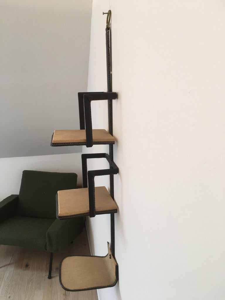 Jacques Adnet Black Stitched Leather Wall Bookcase, 3 Shelves, French, 1950s In Good Condition For Sale In Aix En Provence, FR
