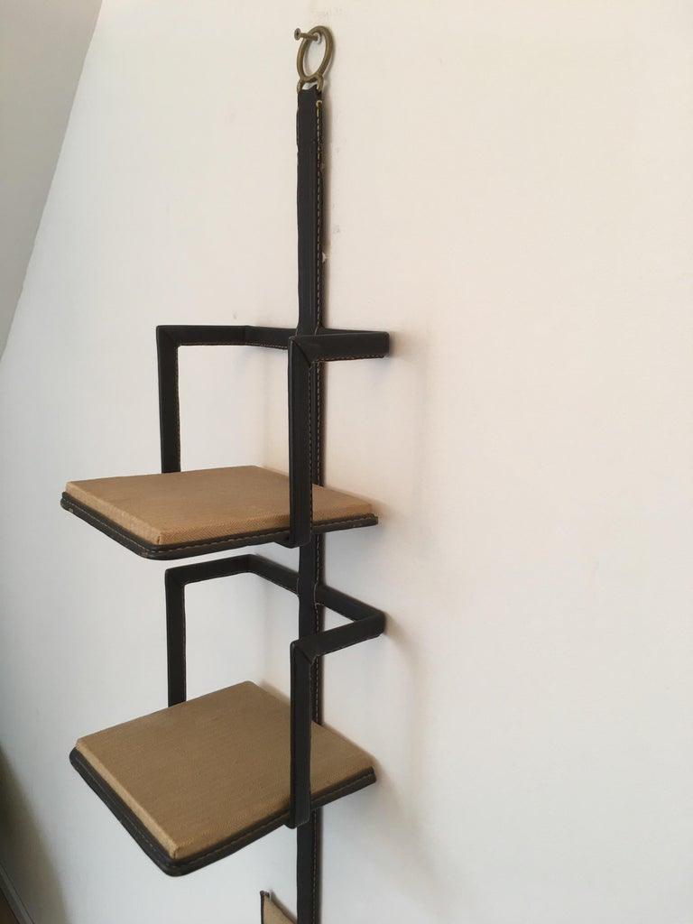 Mid-20th Century Jacques Adnet Black Stitched Leather Wall Bookcase, 3 Shelves, French, 1950s For Sale
