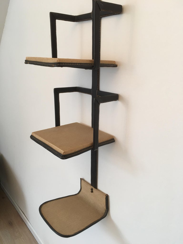 Metal Jacques Adnet Black Stitched Leather Wall Bookcase, 3 Shelves, French, 1950s For Sale