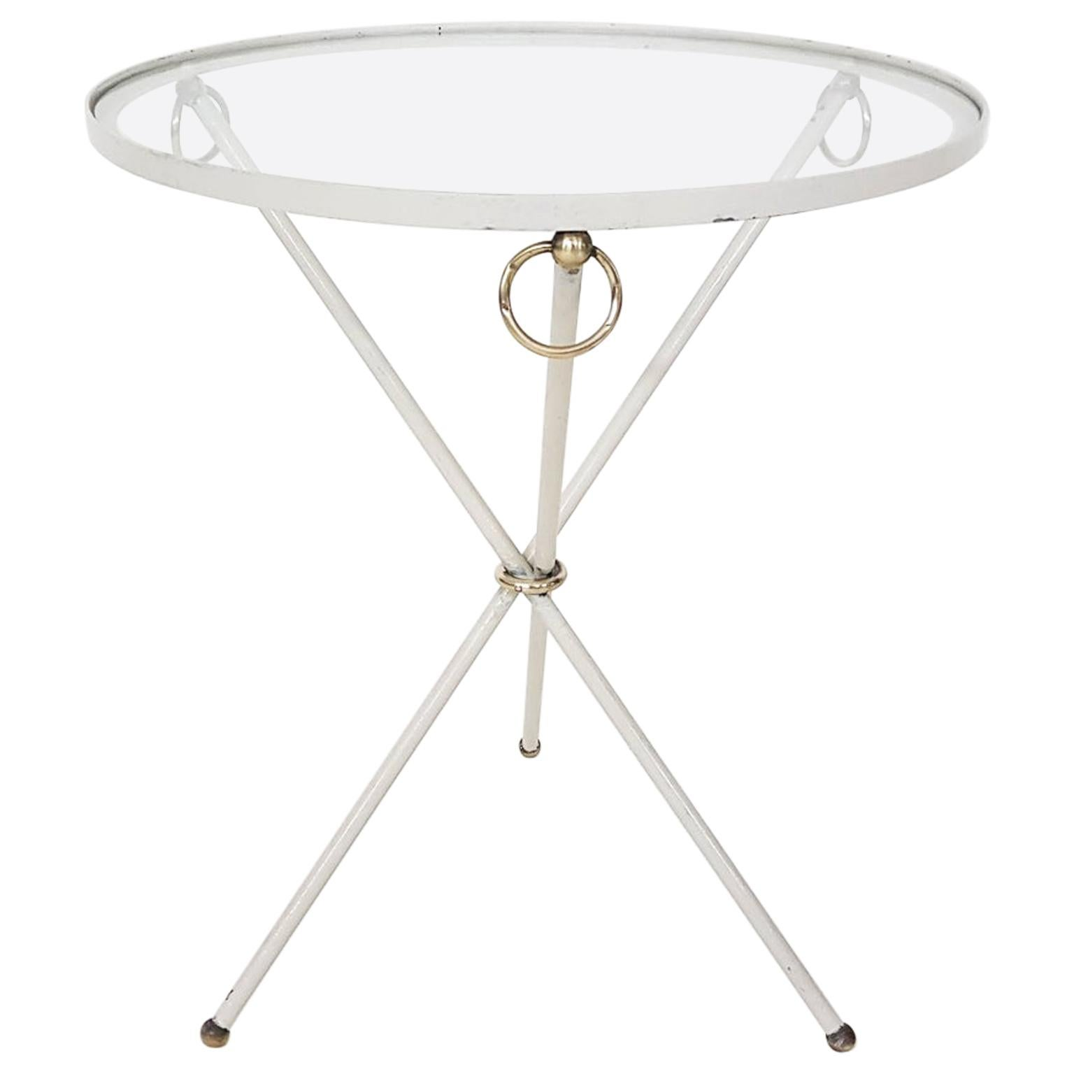 Jacques Adnet Brass and Glass Guéridon or Side Table, France, 1940s